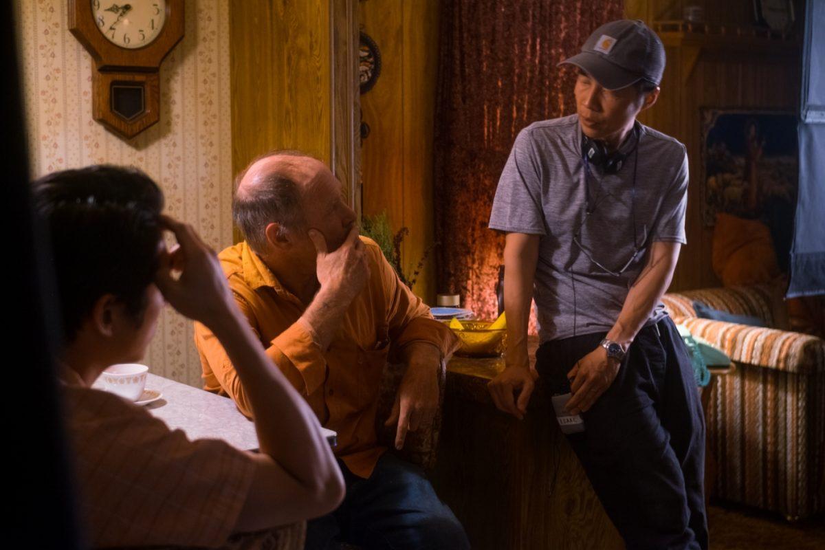 (v.l.n.r.) Steven Yeun, Will Patton und der Regisseur Lee Isaac Chung