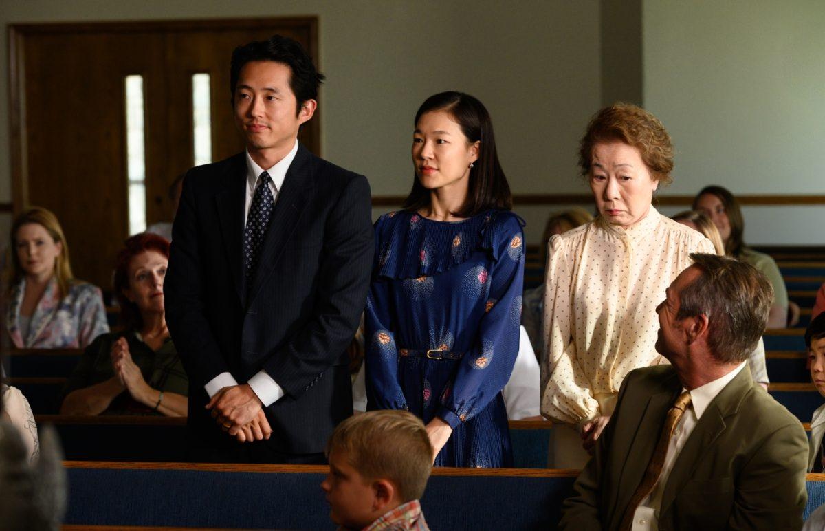 (v.l.n.r) Jacob (Steven Yeun), seine Monica (Yeri Han) und die Großmutter Soonja (Youn Yuh-Jung)