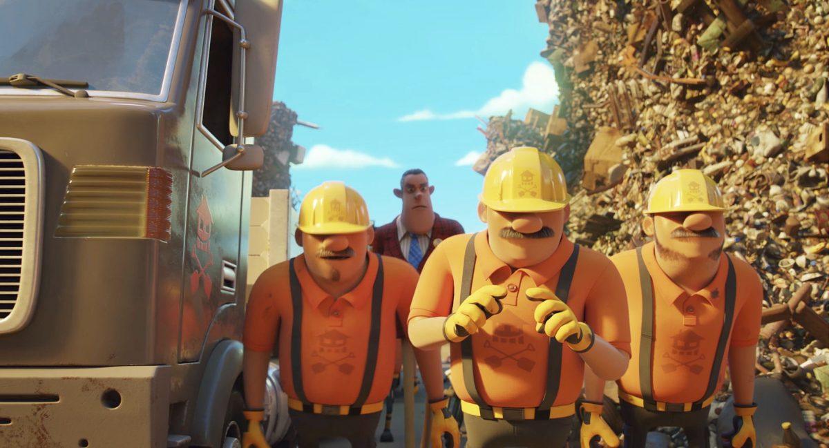 Bauunternehmer Hammer erscheint mit seinen Arbeitern auf der Müllkippe in Die Olchis