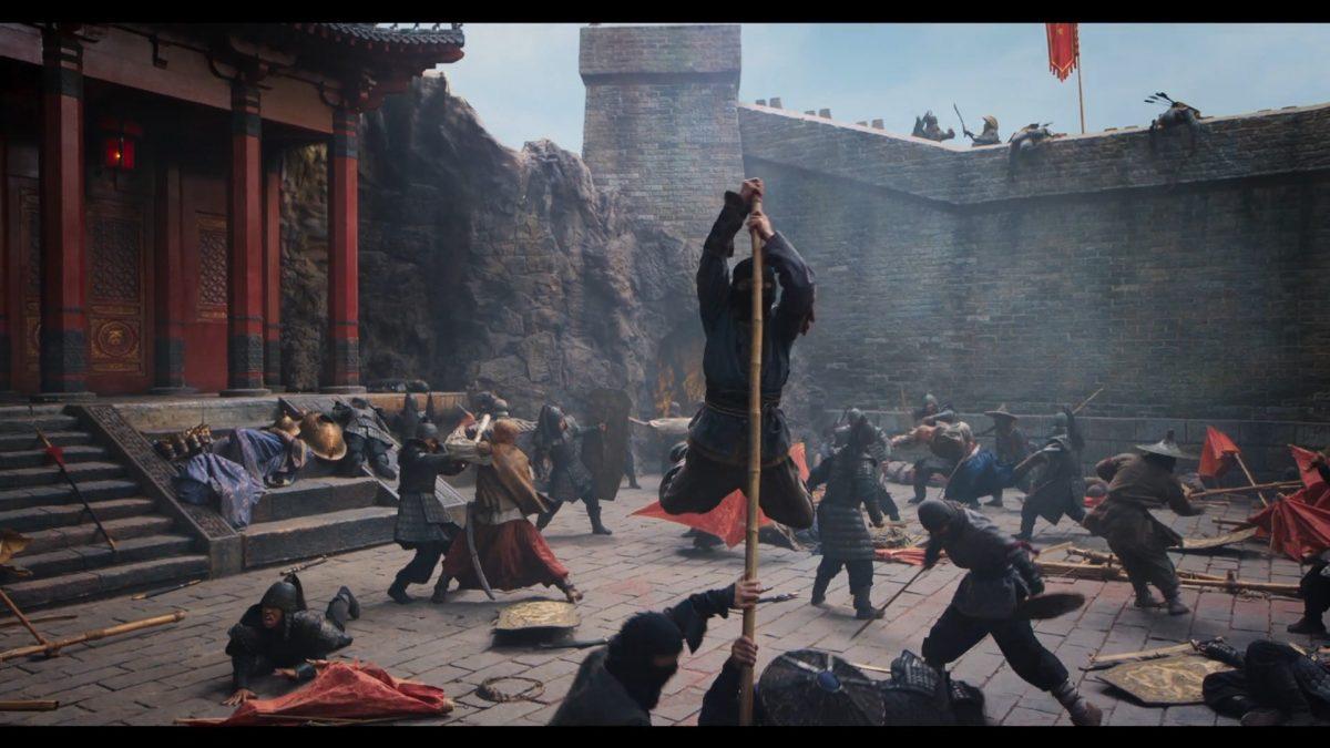 Action Szene mit Kämfpern in Asien in einer Burg