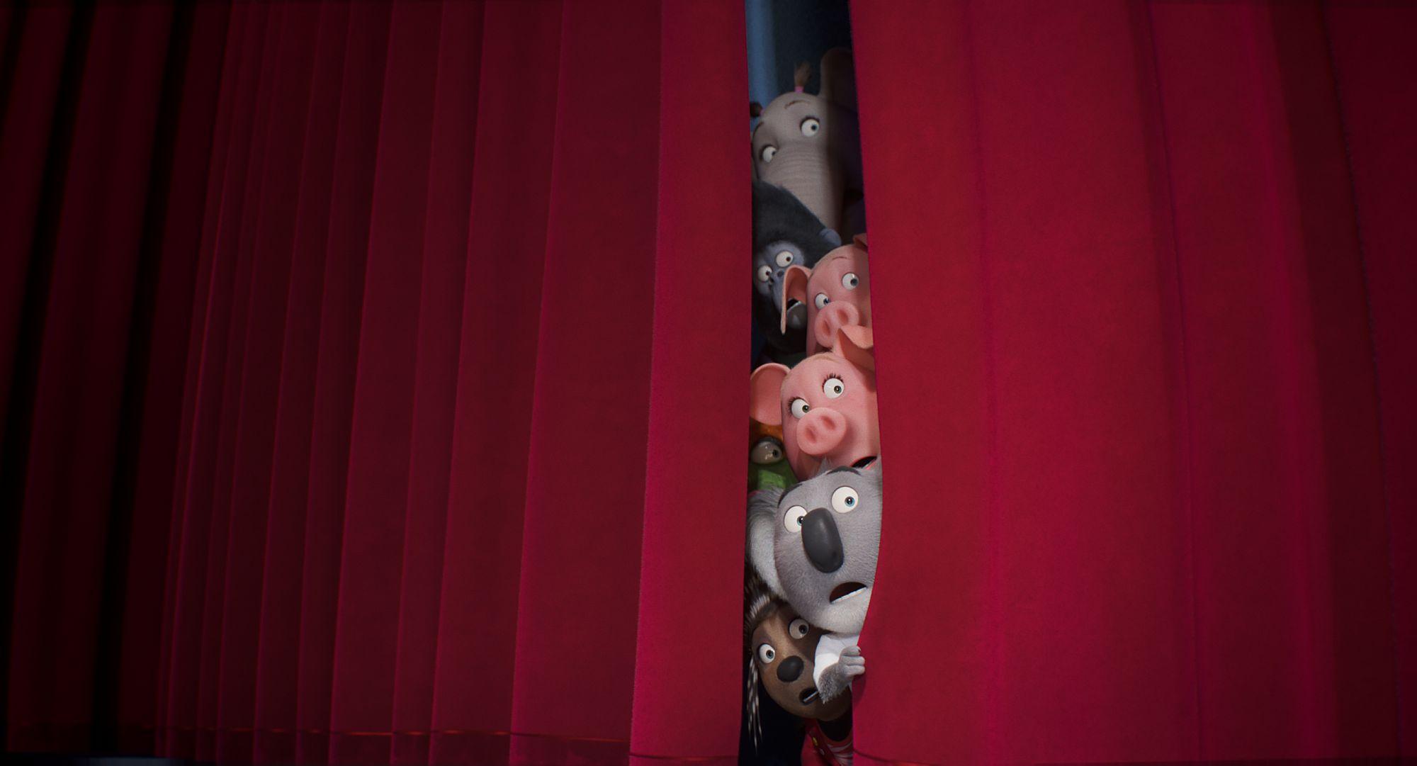 ( von oben nach unten) Elefant Meena (Tori Kelly), Gorilla Johnny (Taron Egerton), Schwein Gunter (Nick Kroll), Schwein Rosita (Reese Witherspoon), Eidechse Miss Crawly (Garth Jennings), Koala Buster Moon (Matthew McConaughey) und Stachelschwein Ash (Scarlett Johansson) in Illumination's Sing 2, geschrieben und inszeniert von Garth Jennings.