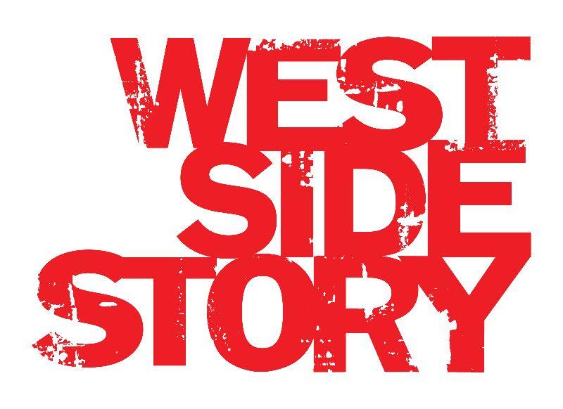 Schriftzug in Rot zeigt den Filmtitel zum Musical WEST SIDE STORY in Blockbuchstaben.